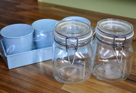 Jars and blue tins